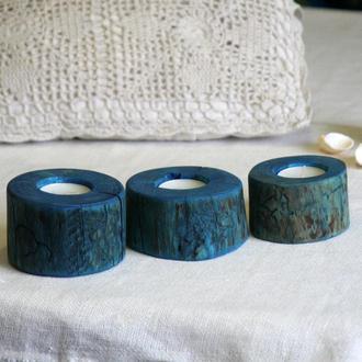 Набор из трех синих подсвечников