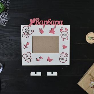 Детская метрика-рамка на 1 фото, из дерева
