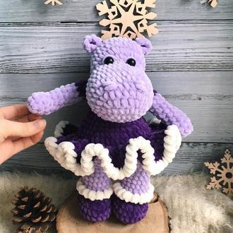 Амигуруми бегемот, плюшевая игрушка для девочки, подарок ребёнку на день рождения, мягкая игрушка