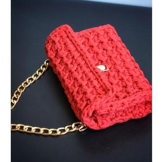 Жіноча сумка клатч, червона сумка торбинка, сумка з довгою ручкою через плече