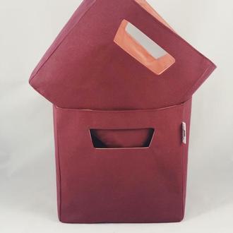 Корзина из ткани, интерьерная корзина бордового цвета. Декор в детскую. Корзина для игрушек.