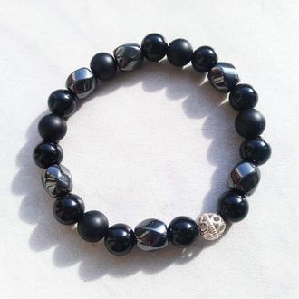 Базовий чорний браслет з сріблом