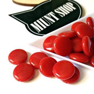 Бусины акрил круглые плоские красные 14 мм