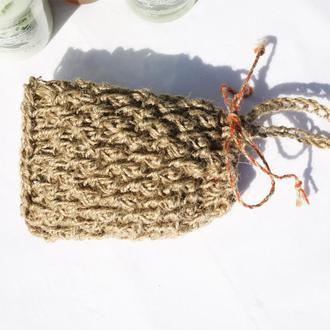 Мочалка мешочек для мыла массажная натуральная из джута 14х11