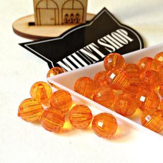Бусины акрил круглые граненые оранжевые 10 мм