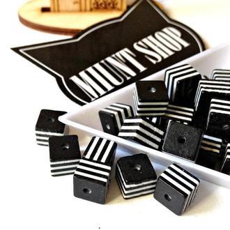 Бусины акрил кубик полоска черный белый 8 мм
