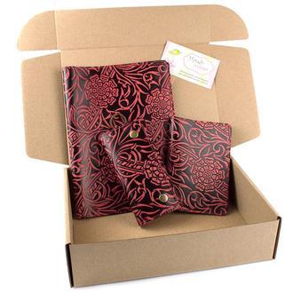 Подарочный набор №25: Обложка на ежедневник + обложка на паспорт + ключница (бордовый)