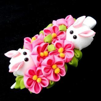 Оригинальная заколка для женщины Украшение для волос с розовыми цветами канзаши Подарок девушке