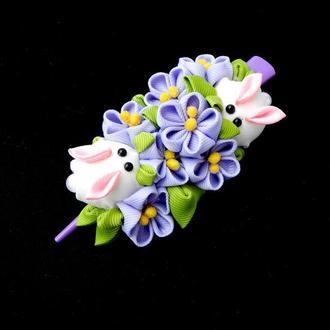 Сиреневая заколка стрела с цветами канзаши Украшение для волос женщине Подарок девушке на 8 марта