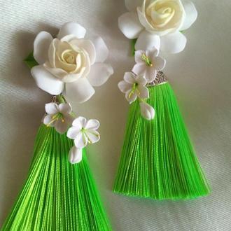 Сережки Гарденії Сережки з квітами Сережки квіти