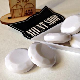 Бусины акрил круглые граненые 25 мм плоские