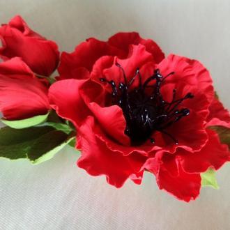 Заколка Мак Заколка цветы Цветы в волосы