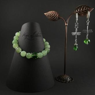Комплект украшений из оникса,хрусталя и серебра 925 пр.