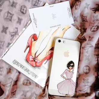 Силиконовый чехол MANKI fashion girl  на iPhone 7