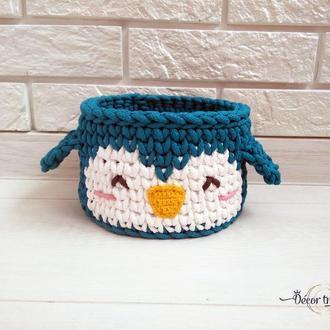 Вязаная корзинка Пингвинчик, детская корзинка, интерьерная корзинка, декор детской кормнаты