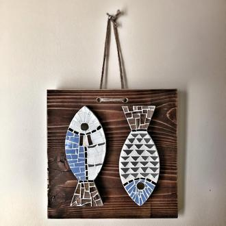 Мозаичное панно Рыбки, декор для дома Рыбки, мозаика