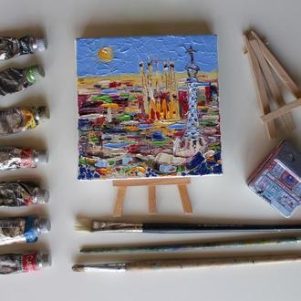 Картина маслом на холсте Барселона, маленькая картина маслом