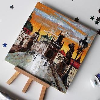 Картина маслом на полотні Прага, Карлів міст, маленька картина маслом