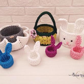 Вязаные пасхальные корзинки, корзинки для кулича и яиц, пасхальный декор.
