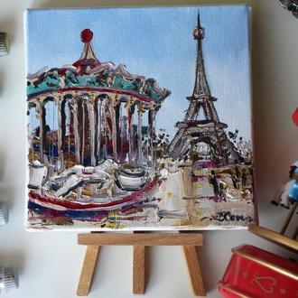 Картина маслом на холсте Париж, карусель Париж, маленькая картина маслом