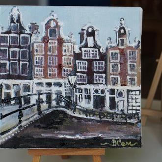 Картина маслом на холсте Амстердам, Амстердам, маленькая картина маслом