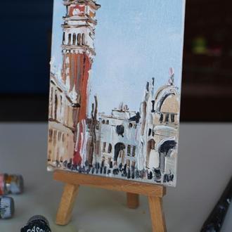 Картина маслом на холсте Венеция, мост Венеция, гандола, маленькая картина маслом