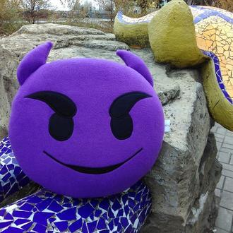 Подушка - игрушка Эмодзи Emoji Смайл фиолетовый чертик