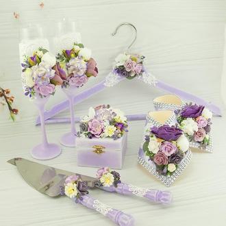 Свадебный набор лавандовый / Фіолетовий набір для весілля / Бокали / Шкатулка / Ніж та лопатка