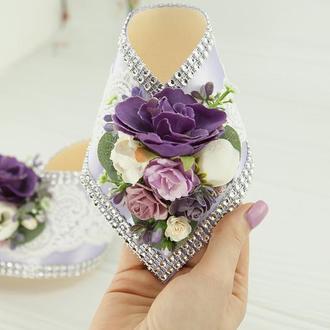 Оформление шампанского лавандовое / Воротнички для шампанского в фиолетовом цвете