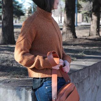 Стильная рыжая сумка Кроссбоди из натуральной кожи
