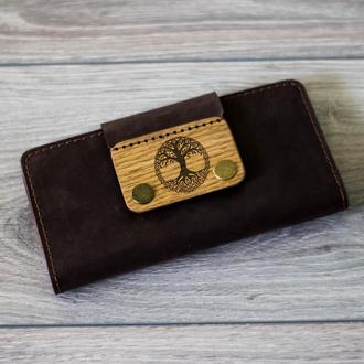 Длинный именной кошелек из кожи с деревянной вставкой. Женский кожаный кошелек. Мужской портмоне.