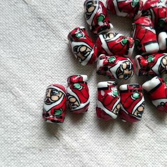 керамические бусины Санта Клаус, 2 шт.