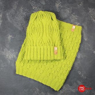 Вязаный шарф-снуд и шапка с отворотом