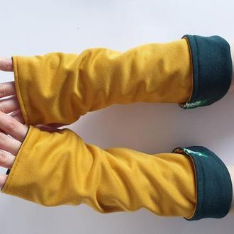 Митенки унисекс, двухсторонние, горчичного и темно зеленого цвета. Мужские трикотажные перчатки
