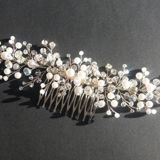 Свадебный гребень #2, гребешок для невесты, прикраса в зачіску з хрустальних бусин