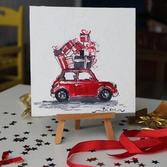 Картина маслом на холсте красная машина, машина с подарками, маленькая картина маслом