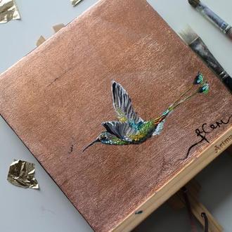 Картина маслом на холсте птица
