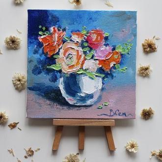 Картина маслом на холсте цветы, букет цветов в вазе, маленькая картина маслом