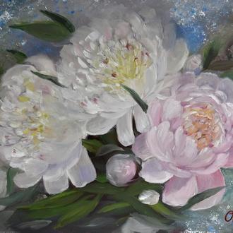 Нежные пионы. Живопись маслом, букет цветов, картина 40х50 см