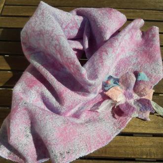 Ажурный валяный платок Розовый закат