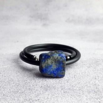 Женский браслет с необработанным камнем лазурита. Подарок девушке. Браслет с натуральными камнями.