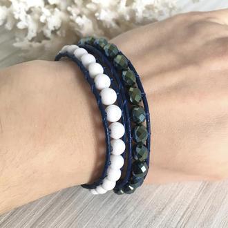 Синий кожаный браслет в стиле Chan Luu с белым агатом