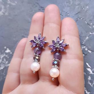 Сережки з натуральними перлами та аметистами