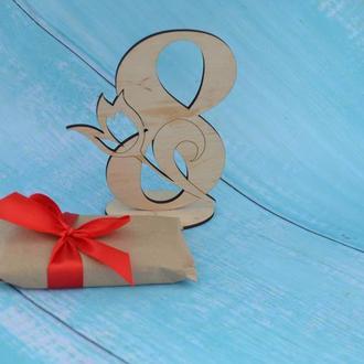 Деревянная открытка на 8 марта, подарок маме, подарок жене, подарок девушке, подарок бабушке