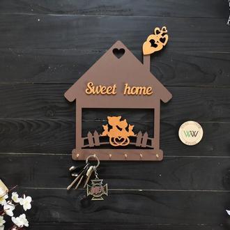 """Настенная ключница - котики в домике """"Sweet home"""", из дерева"""
