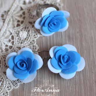 """Серьги+кольцо с цветами """"Голубые розочки"""""""