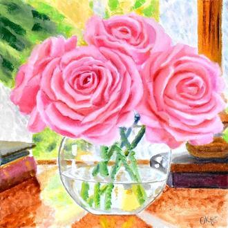 З добрим ранком! Троянди в стилі імпресіонізму. Квіти, живопис олією 25х25 см