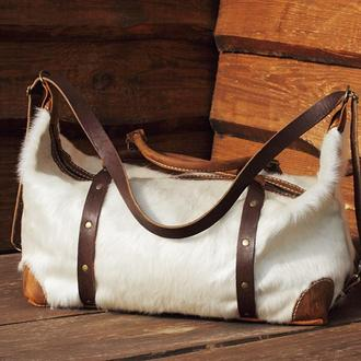 Дорожная / спортивная сумка из шкуры коровы