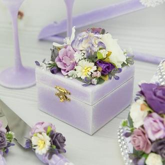 Шкатулочка під обручки фіолетова / Шкатулка под кольца лавандовая / Фиолетовая подушечка под кольца