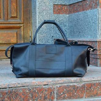 Черная дорожная кожаная сумка Sport & Travel, Спортивная сумка из кожи Crazy Horse